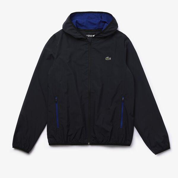 Men's SPORT Water-Resistant Foldable Hooded Zip Jacket, BLACK/COSMIC, hi-res