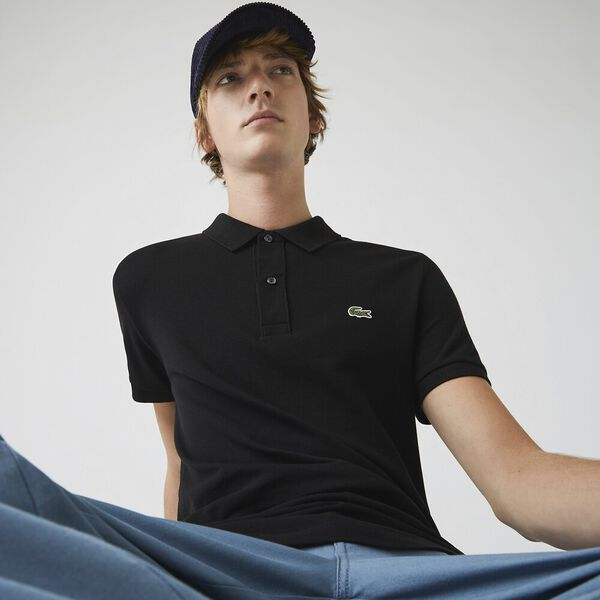 MEN'S SLIM FIT CORE POLO, BLACK, hi-res