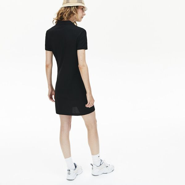 Women's Stretch Cotton Piqué Polo Dress, BLACK, hi-res