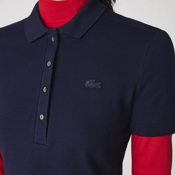 Women's Stretch Cotton Piqué Polo Dress, NAVY BLUE, hi-res