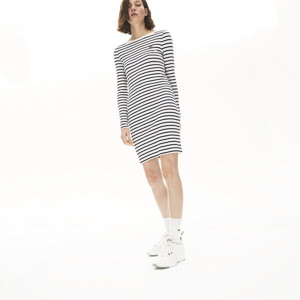 Women's Nautical Ribbed Cotton Dress, FARINE/MARINE, hi-res