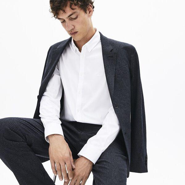 Men's Long Sleeve Slim Stretch Solid Poplin Shirt, WHITE, hi-res