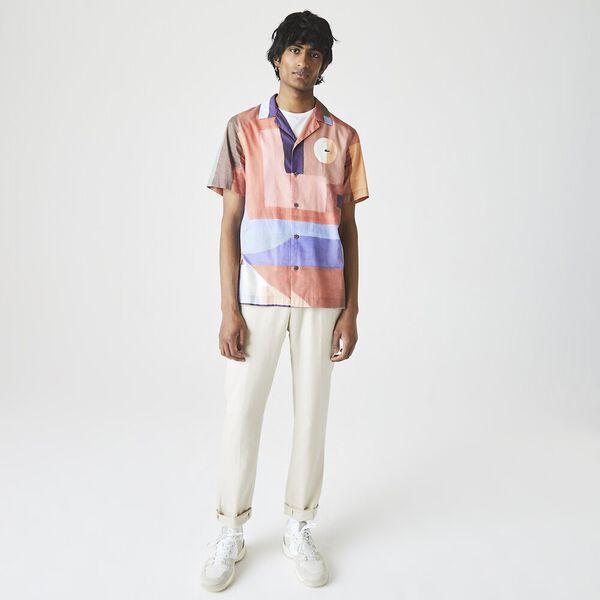 Men's Hawaiian Print Cotton Shirt, CRATER/MULTICO, hi-res