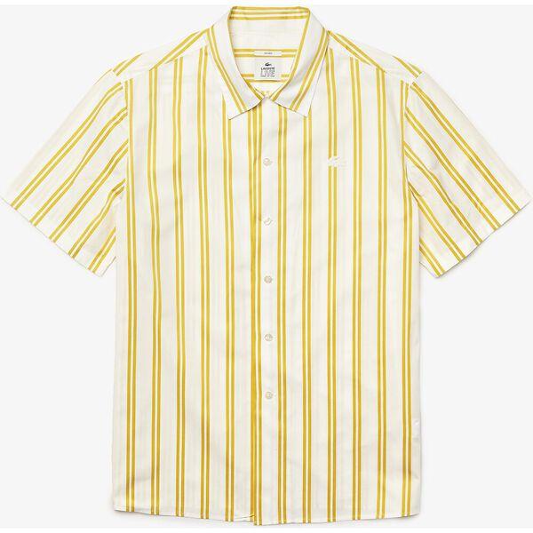 Unisex LIVE Striped Satiny Shirt, FLOUR/PINEAPPLE, hi-res