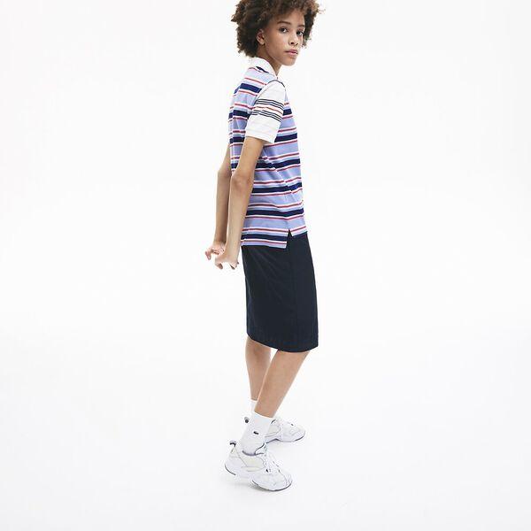 Women's Classic Fit Striped Cotton Polo Shirt, BLACK, hi-res