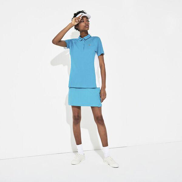 Women's SPORT Two-Tone Stretch Cotton Piqué Golf Polo Shirt, TURQUOISE/WHITE, hi-res