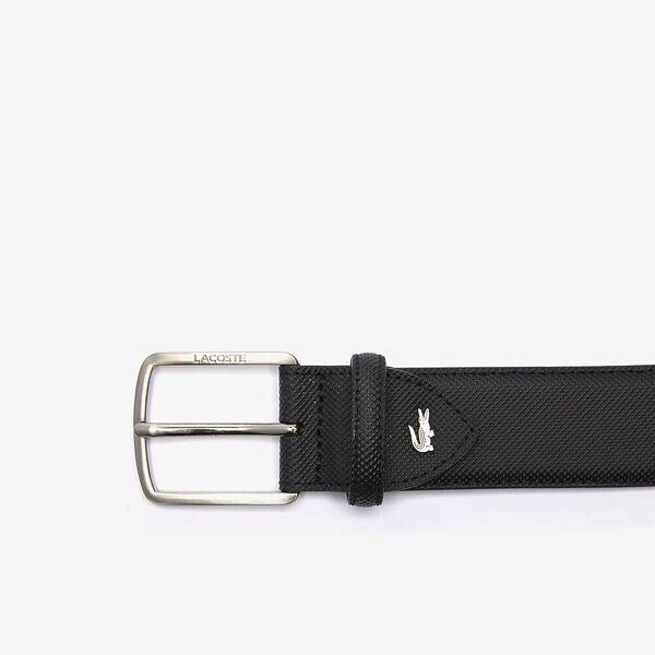Men's Engraved Buckle Piqué Canvas Belt, NOIR, hi-res