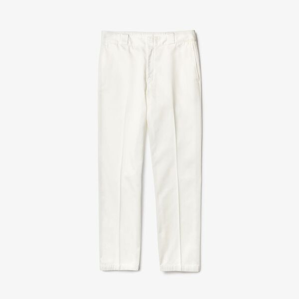 Men's Lacoste LIVE Pleated Cotton Chinos, FARINE, hi-res
