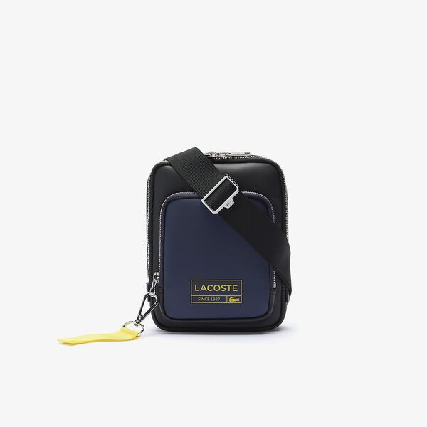 Men's Lettering and Pockets Vertical Smooth Leather Zip Bag
