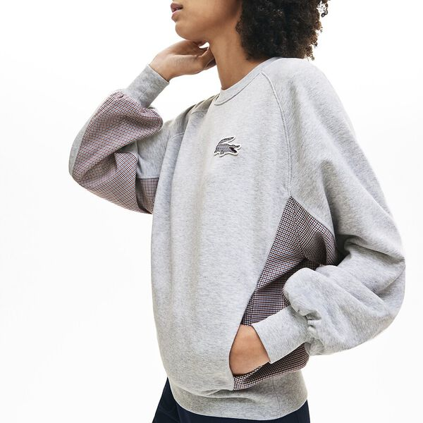 Women's Tattersalls Fleece Sweatshirt, SILVER CHINE, hi-res
