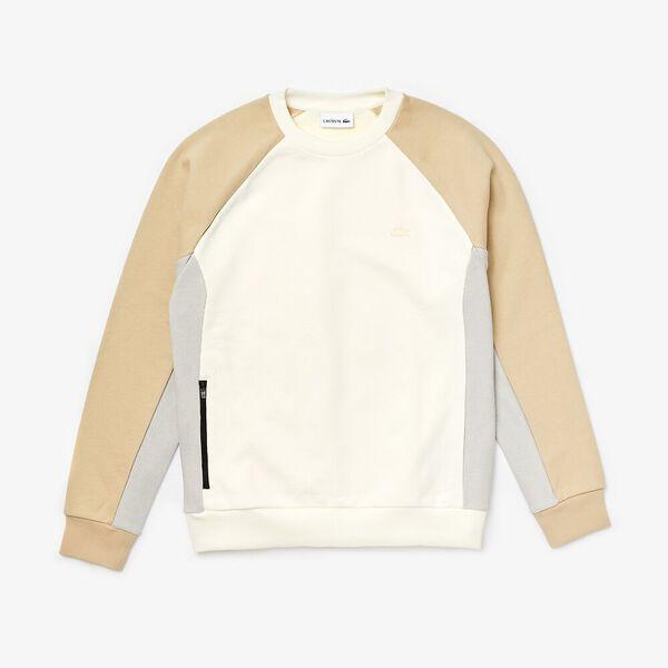 Men's Lacoste Motion Colourblock Crew Neck Sweatshirt, FARINE/NIMBUS-PLAGE, hi-res