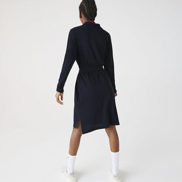 Women's Straight Flowy Piqué Polo Dress, NAVY BLUE, hi-res