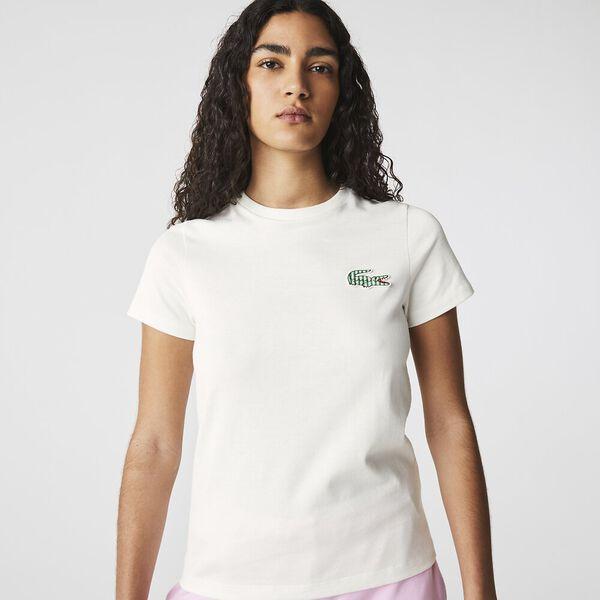 Women's Crew Neck Striped Crocodile T-shirt