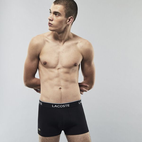 Pack Of 3 Casual Black Trunks, BLACK/WHITE-SILVER CHINE, hi-res