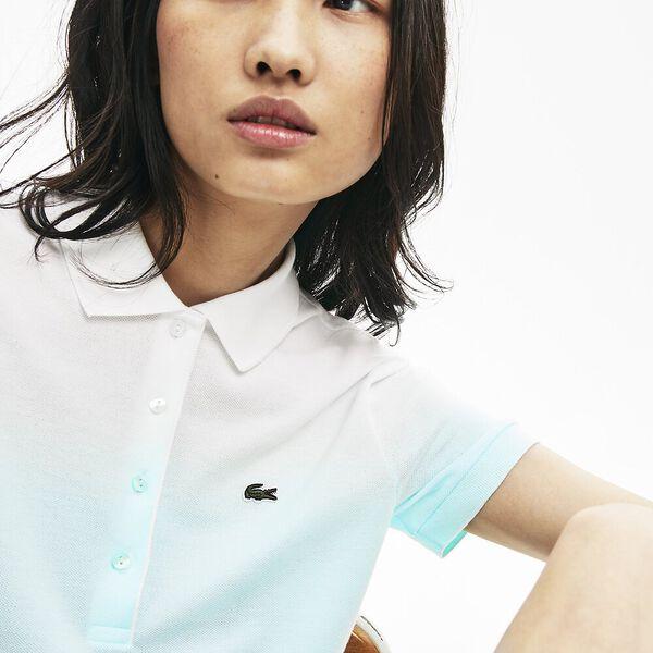 Women's Made in France Organic Cotton Piqué Polo Shirt, IGLOO/IGLOO CLAIR-BLANC, hi-res