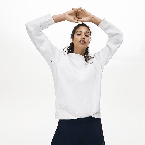 Women's Lacoste Motion Crew Neck Sweatshirt, FLOUR, hi-res