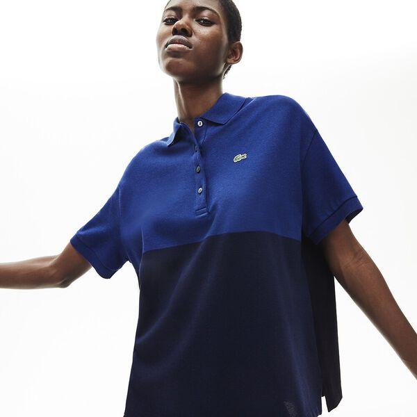 Women's Lacoste Relax Fit Colourblock Light Piqué Polo Shirt, MARINE/METHYLENE-NOIR, hi-res