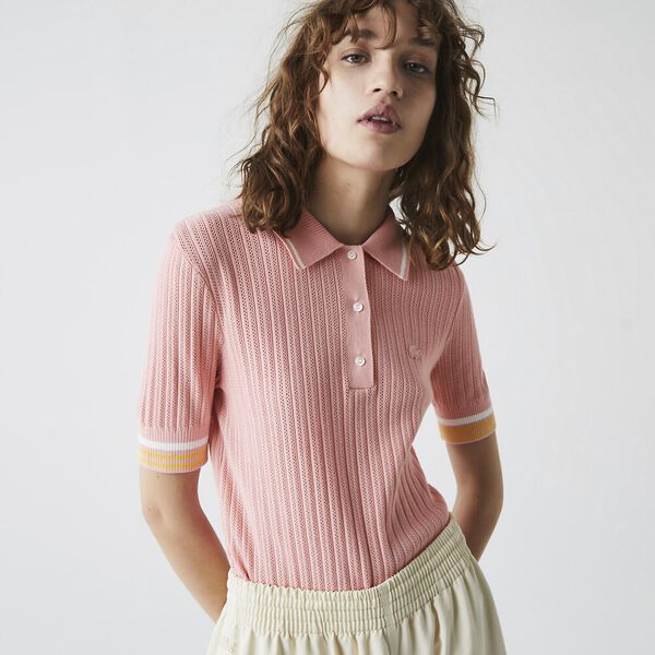 Women's Slim Fit Striped Sleeve Knit Polo, BAGATELLE PINK/ANTHEMIS-F, hi-res