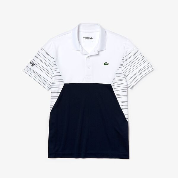 Men's Tennis Ultra Dry Pique Knit Polo, WHITE/NAVY/WHITE, hi-res
