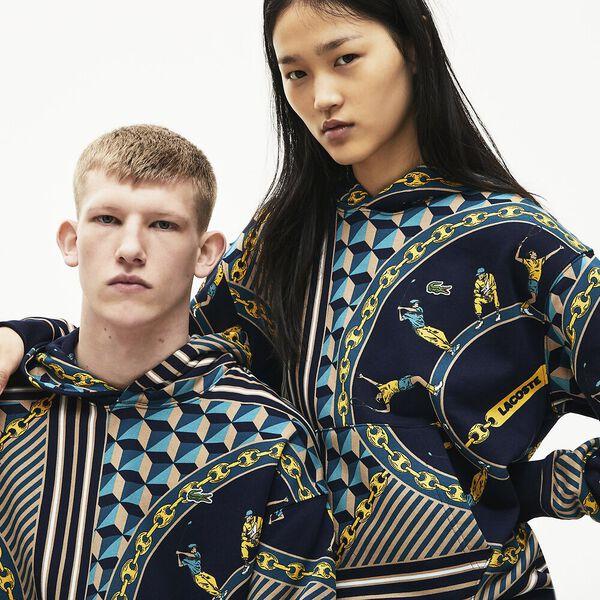Unisex Lacoste LIVE Hooded Scarf Print Sweatshirt