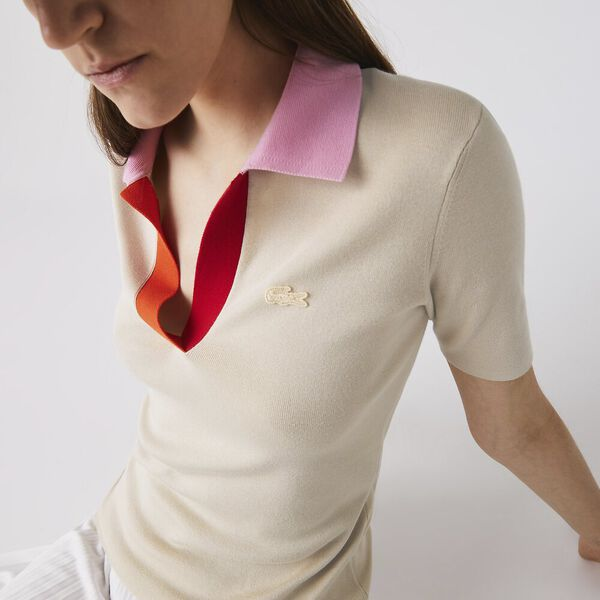 Women's Polo Collar Two-Tone Cotton Sweater, SABLER/PINKISH-RED-GLADIO, hi-res