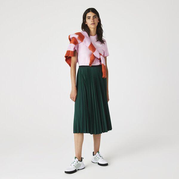 Women's Lettered Waist Mid-Length Pleated Skirt