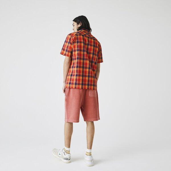 Men's Hawaii Fit Check Cotton Fabric Shirt, REDCURRANT BUSH/LANTERN, hi-res