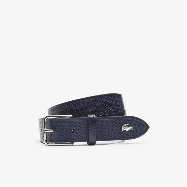 Men's Metal Crocodile Stitched Leather Belt, DARK SAPPHIRE, hi-res