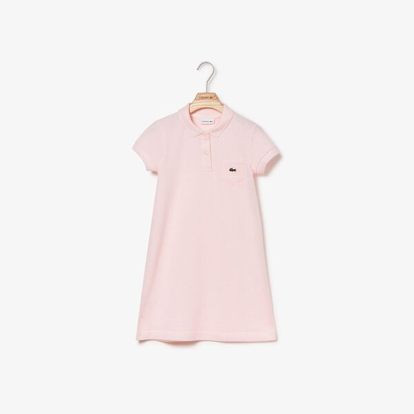Girl's Classic Pique Polo Dress, FLAMINGO, hi-res