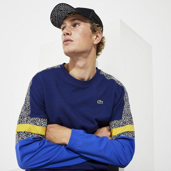 Men's SPORT Bi-Material Print Sweatshirt, METHYLENE/OBSCURITE-NOIR-BLANC-JONQUILLE, hi-res