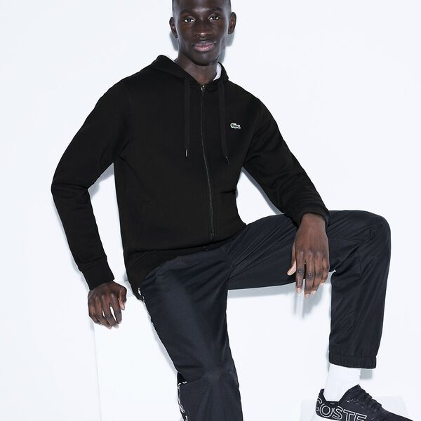 Men's Basic Sport Hoodie, BLACK/SILVER CHINE, hi-res