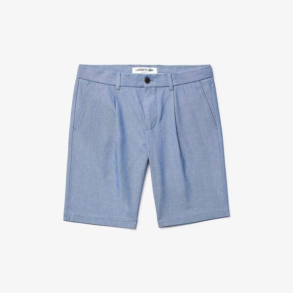 Men's Chambray Cotton Slim Fit Bermudas, NOIR, hi-res