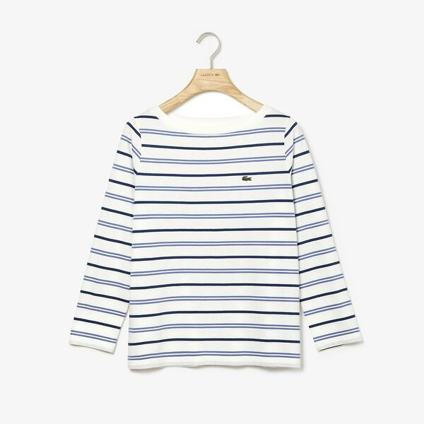 Women's Clean Stripes Long Sleeve Jersey Tee, FLOUR/KING-RAFFIA MATTING, hi-res