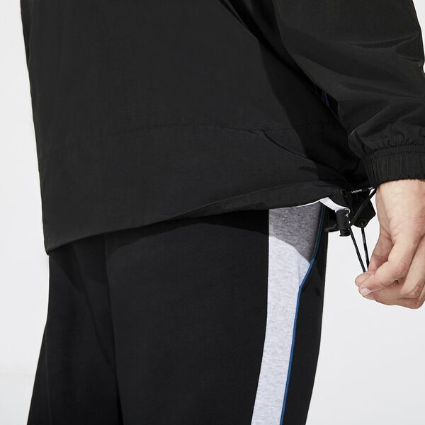 Men's Lifestle Hooded Anorak, BLACK/ILLUMINATION-WHITE, hi-res