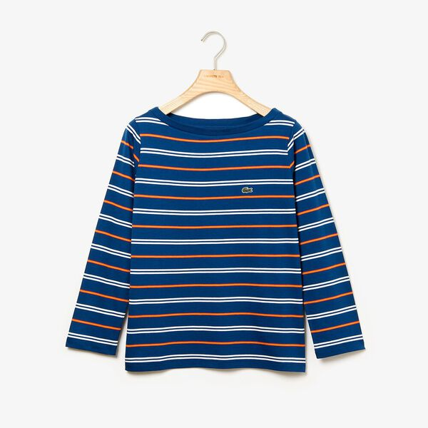 Women's Clean Stripes Long Sleeve Jersey Tee, RAFFIA MATTING/FLOUR, hi-res