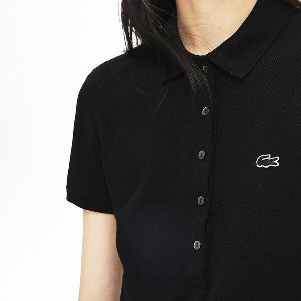 Women's Slim Fit Core Polo Dress, BLACK, hi-res