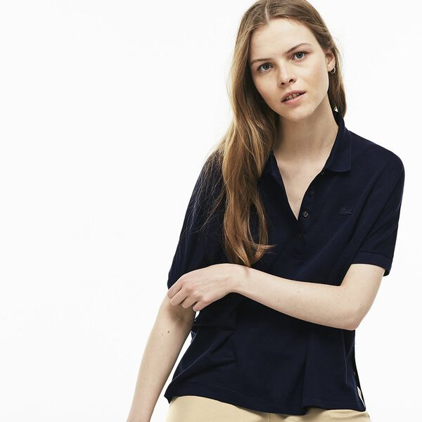 Women's Relaxed Fit Polo, NAVY BLUE, hi-res