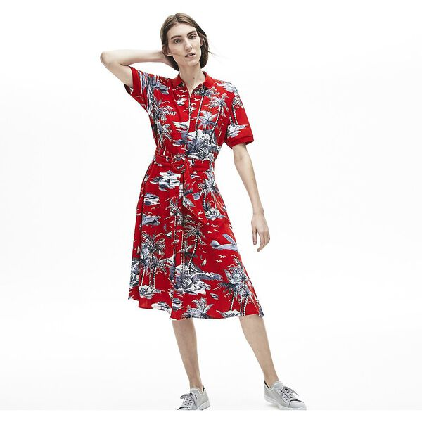 WOMEN'S PALM PRINT DRESS, SALVIA, hi-res