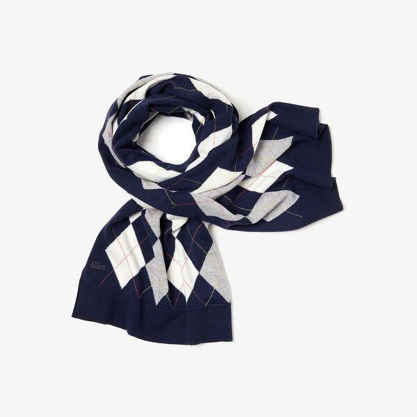 Women's Heritage Argyle Wool Scarf, NAVY BLUE/SILVER CHINE-FLOUR, hi-res