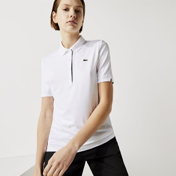 Women's SPORT Breathable Stretch Golf Polo Shirt, WHITE/NAVY BLUE, hi-res