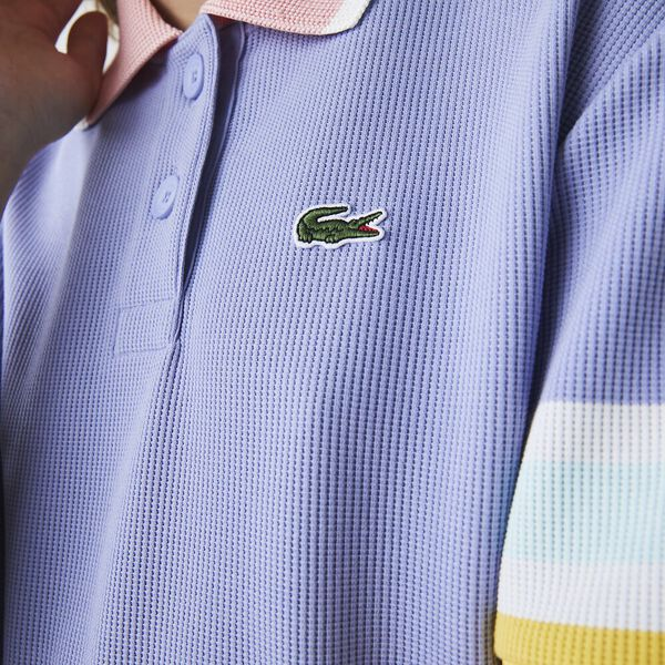 Women's Lacoste Striped Sleeve Textured Cotton Polo, FREESIA/BAGATELLE PINK-AN, hi-res
