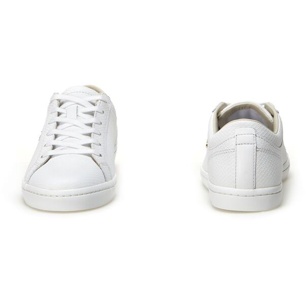 Women's Straightset Leather Sneakers, WHITE, hi-res