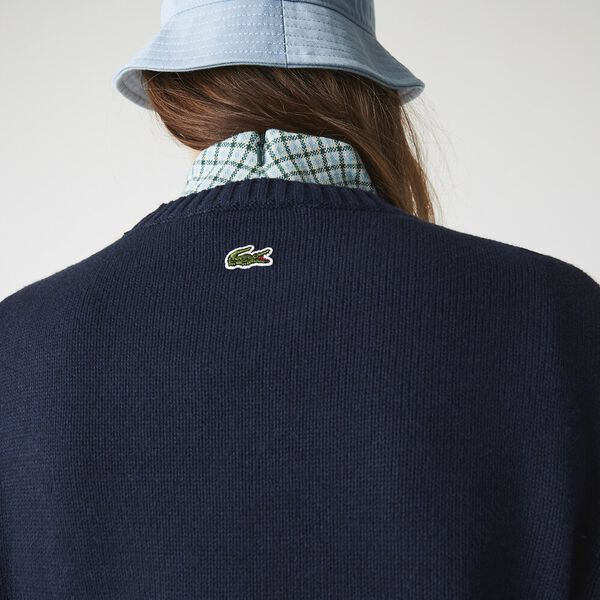 Women's Crew Neck Lettered Wool And Cotton Sweater, NAVY BLUE/FLOUR, hi-res