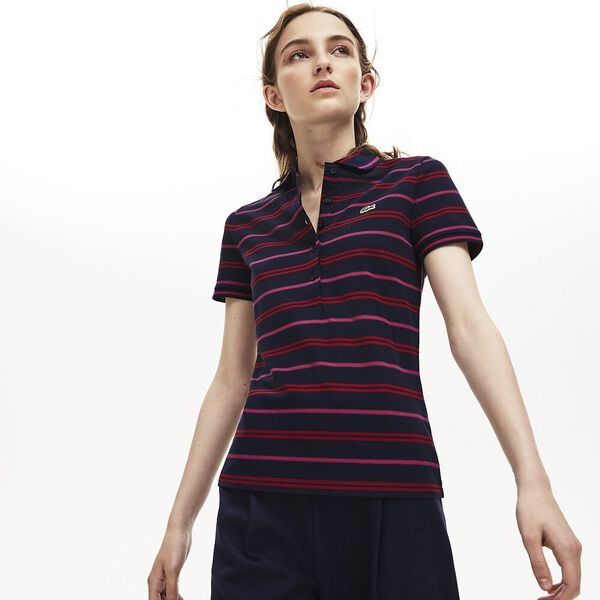 Women's Slim Striped Polo, NAVY BLUE/ALIZARIN, hi-res