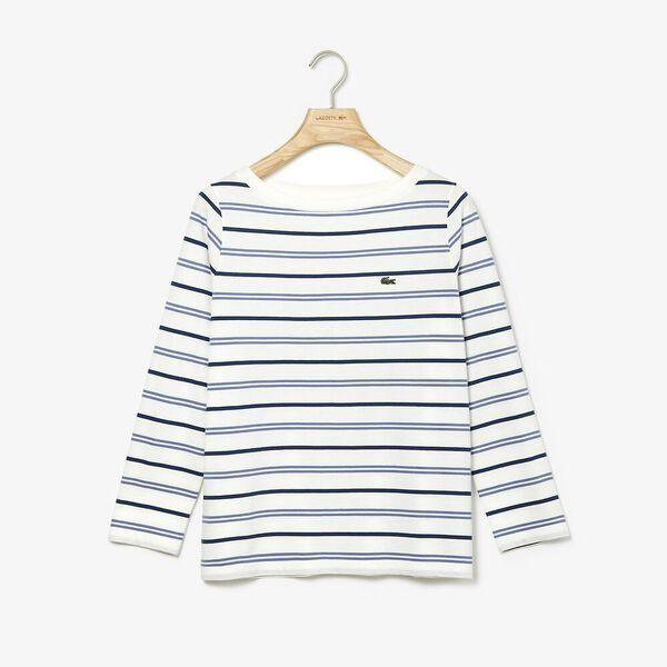 Women's Clean Stripes Long Sleeve Jersey Tee, FLOUR/KING-RAFFIA MATTING, hi-res