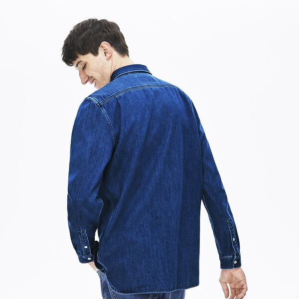 Men's Classic Long Sleeve Reg Fit Denim Shirt, DEEP MEDIUM, hi-res