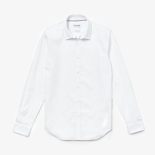 Men's Slim Stretch Solid Poplin Shirt, WHITE, hi-res