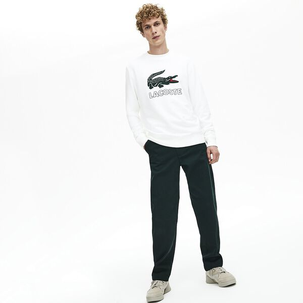 Men's Lacoste Croc Crewneck Sweat, WHITE, hi-res
