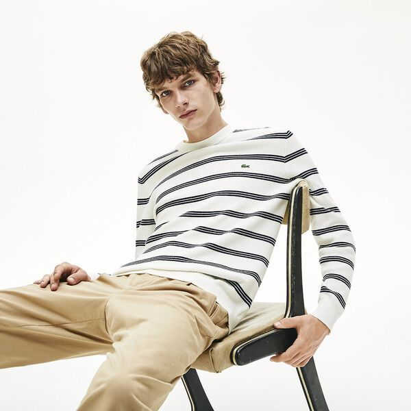 Men's Classic Stripe Crew Neck Knit, FLOUR/NAVY BLUE, hi-res