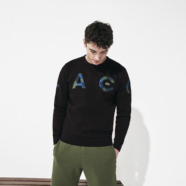Men's Lifestyle Fleece Crew Sweatshirt, BLACK/BLACK-ILLUMINATION, hi-res